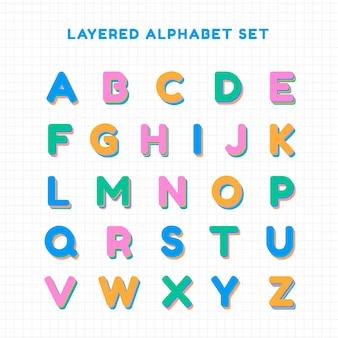 Gelaagde alfabet set lettertype typografie