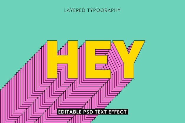 Gelaagde bewerkbare teksteffectsjabloon 3d-typografie