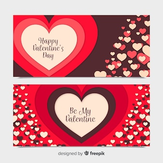 Gelaagde hart valentine banner collectie