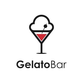 Gelato en wijn cocktailglas bar eenvoudig strak creatief geometrisch modern logo-ontwerp