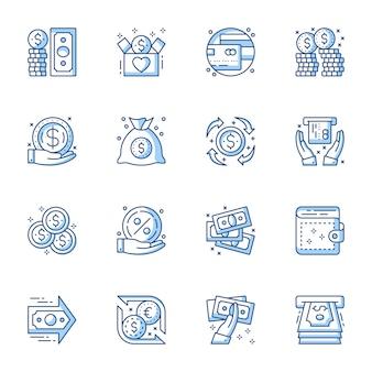 Geld, bankdienst lineaire vector iconen set.