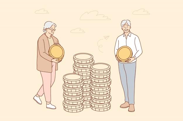 Geld, bedrijf, verzekering, aanbetaling, concept opslaan