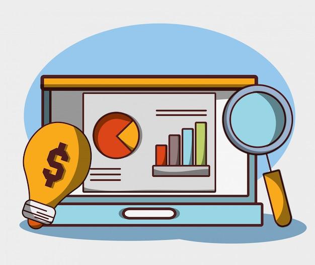 Geld bedrijfs financiële laptop laptop de creativiteit van het rapportgrafiekonderzoek