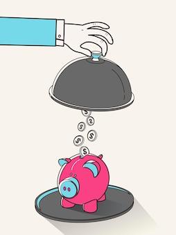 Geld besparen concept in platte lijnstijl