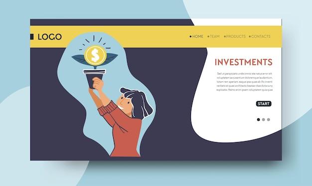 Geld besparen en financiële activa investeren in projecten. persoon met ingemaakte boom met dollarteken, account en beursprofessional. website- of webpagina-landingssjabloon, vector in vlakke stijl