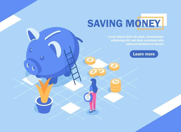 Geld besparen, geldbesparende concept met karakter