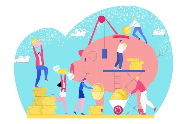 Geld besparen in spaarvarken, vectorillustratie. zakelijke financiën, munten investeringen voor kleine man vrouw mensen karakter verzamelen financiële inkomsten. economie rijkdom, werknemer persoon met dollar contant geld.