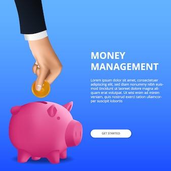 Geld besparen investering voor budgettering management financieel met de hand zet gouden munt in spaarvarken