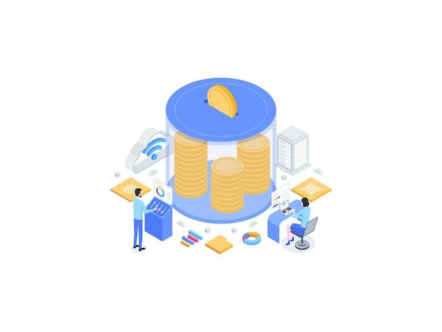 Geld besparen isometrische vlakke afbeelding. geschikt voor mobiele app, website, banner, diagrammen, infographics en andere grafische middelen.