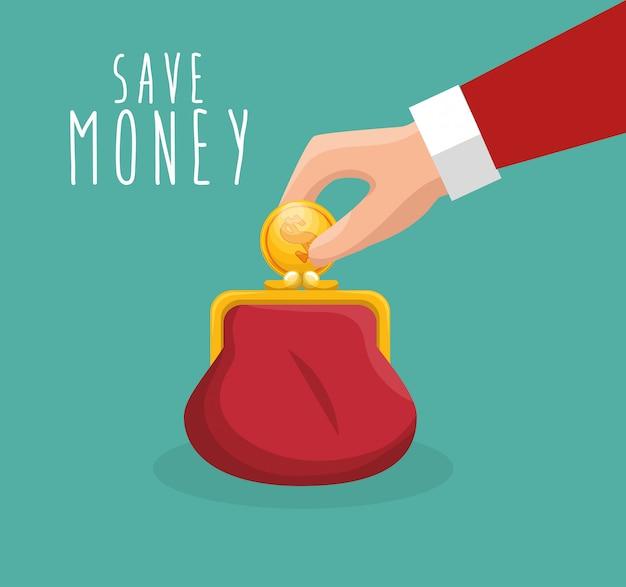 Geld besparen met de hand zet munt portemonnee