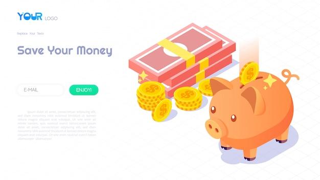 Geld besparen met spaarvarken concept, moderne isometrische spaarvarken, geld en munten op abstracte achtergrond voor website sjabloon. vector illustratie