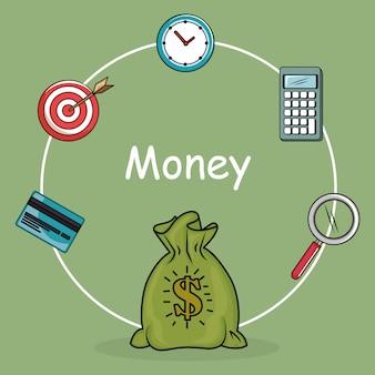 Geld besparen set pictogrammen