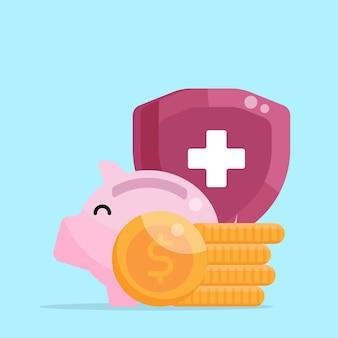 Geld besparen spaarpot munt vector illustratie plat ontwerp