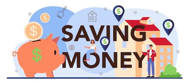 Geld besparen typografische header vastgoedsector gekwalificeerd