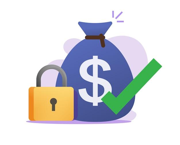 Geld beveiligde betalingstransactie vergrendelen overdracht ontvangen vector pictogram