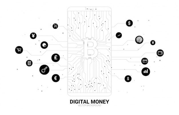 Geld bitcoin pictogram in het scherm van de mobiele telefoon van dot connect lijn printplaat stijl