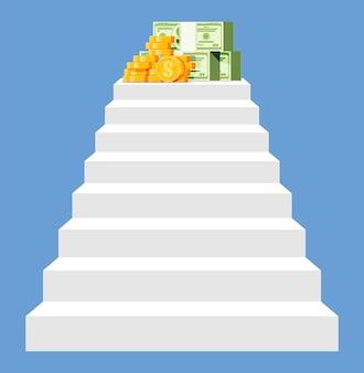 Geld boven aan de trap, gouden munten dollar biljetten. doelen stellen