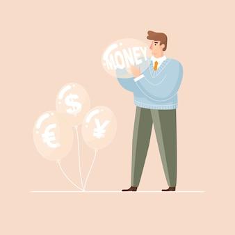 Geld bubbels man blaast een ballon op vectorillustratie
