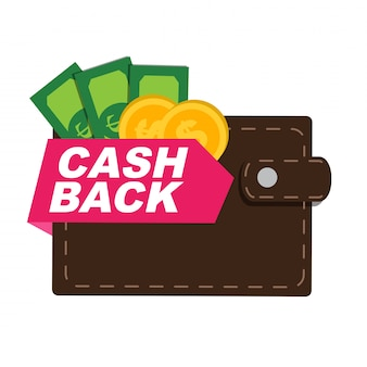 Geld cashback poster met gouden dollar munten. illustratie