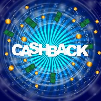 Geld cashback poster met gouden dollar munten