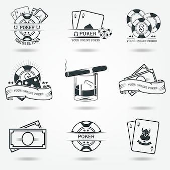 Geld, chips, whisky. logo's van casino poker. set van vector iconen van zwart.