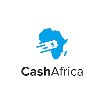 Geld contant geld en afrika kaart eenvoudig strak creatief geometrisch modern logo-ontwerp