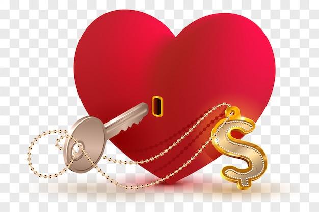 Geld dollar is de sleutel tot het hart van je geliefde.