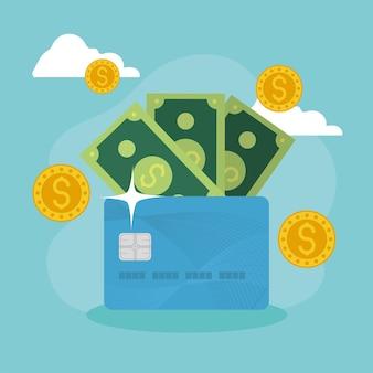 Geld en creditcard financiële pictogrammen
