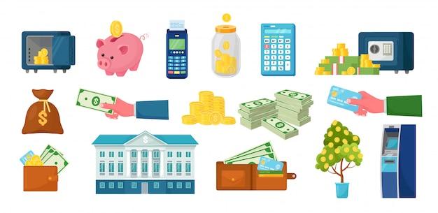 Geld en financiën ingesteld. geldautomaat, pos-terminal, spaarvarken, elektronische kluis met stapel dollars, gouden munten. bankkluis, opslag met slotcode. nfc-systeem.