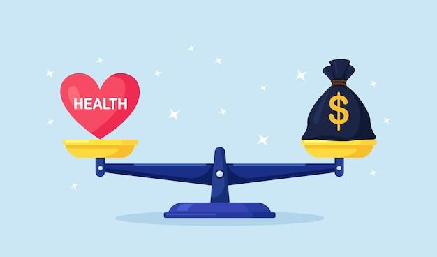 Geld en gezondheid balans. gezondheidszorg, rijkdom verdienen op schalen. geldzak versus rood hart op schaal. onevenwicht tussen levensstijl en werk. vergelijking van zakelijke stress en gezond leven