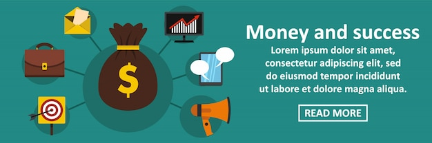 Geld en succes banner horizontaal concept