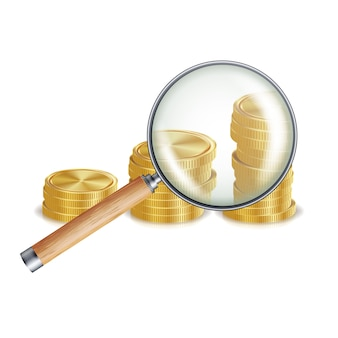 Geld en vergrootglas