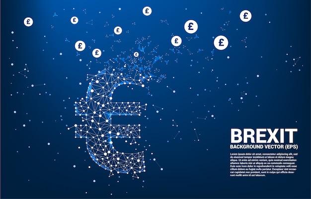 Geld euro valuta pictogram van veelhoek dot verbinden lijn gebroken naar pond sterling achtergrond sjabloon