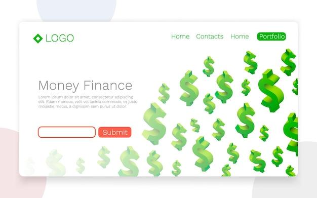 Geld financiën, vliegende dollarsymbolen, landingspagina concept. vector illustratie