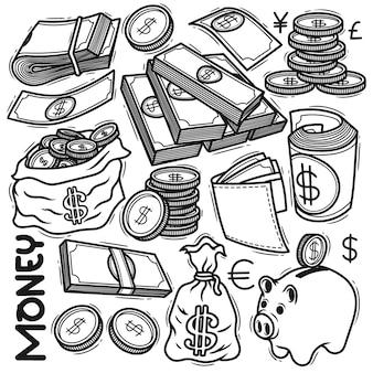 Geld handgetekende doodle instellen