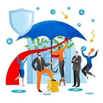 Geld in veilige zakelijke financiën bescherming vector illustratie man vrouw karakter beschermen contant geld in ba...
