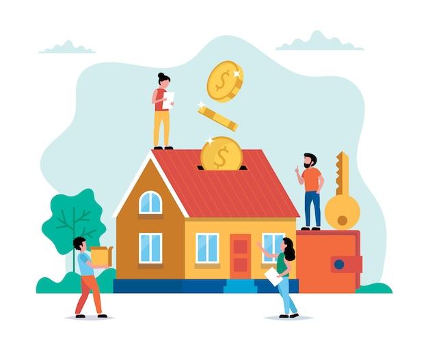 Geld investeren in onroerend goed, een huis kopen, kleine mensen die verschillende taken uitvoeren.