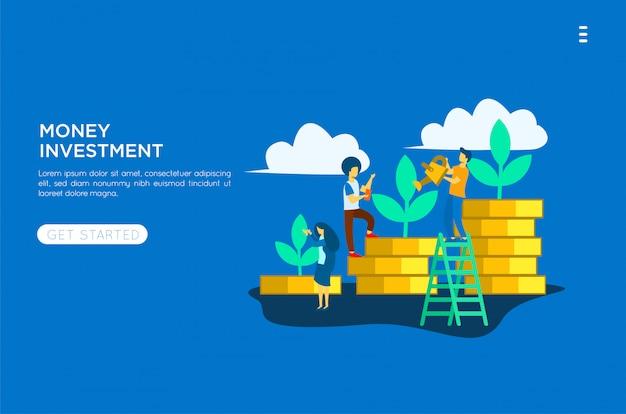 Geld investeringen vlakke afbeelding