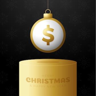 Geld kerstbal sokkel. merry christmas geld wenskaart. hang op een draad munt dollar bal als een kerst bal op gouden podium op zwarte achtergrond. economie vectorillustratie.