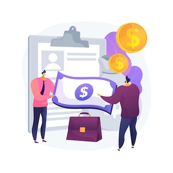 Geld lenen abstract concept vectorillustratie. kleine geldschieters, leningen van particulieren, financiering op korte termijn, commerciële en industriële bankkredieten, abstracte metafoor voor werkkapitaal.
