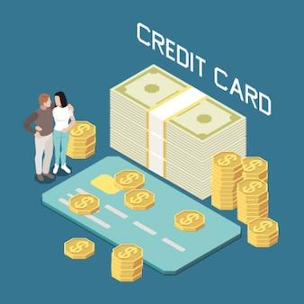 Geld lenen met creditcard isometrische samenstelling met paar omringd door