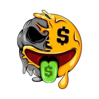 Geld mond gezicht uitdrukking verandert in geld mond gezicht dood schedel emoticon