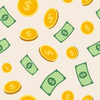 Geld naadloze patroon achtergrond, vector financiën illustratie