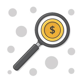 Geld onderzoek onder vergrootglas vectorillustratie pictogram. vergrootglas over dollar munten flat icon