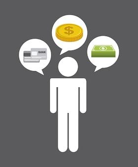 Geld ontwerp over grijze achtergrond vectorillustratie