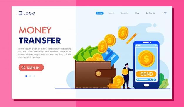 Geld overdracht bestemmingspagina website illustratie sjabloon