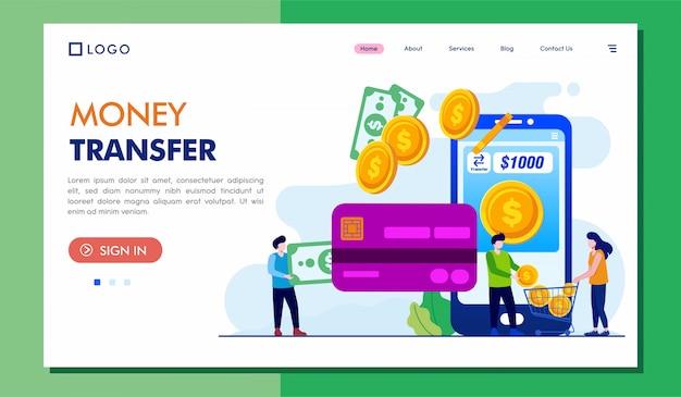 Geld overdracht bestemmingspagina website illustratie