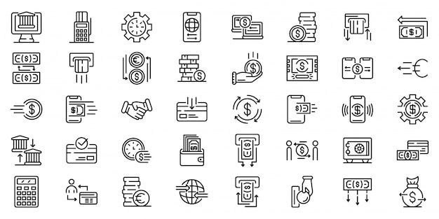 Geld overdracht iconen set, kaderstijl