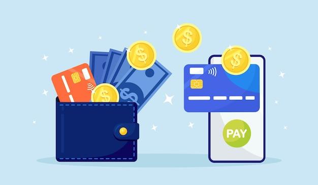 Geld overmaken met digitale portemonnee. cashback, beloningsconcept. mobiele telefoon met bank-app, portemonnee met contant geld, munt, creditcard, dollarbiljet. online betaling