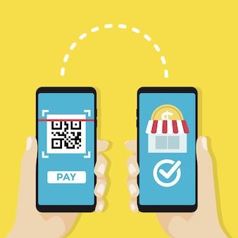 Geld overmaken om te winkelen via qr-code, mobiele betaling.